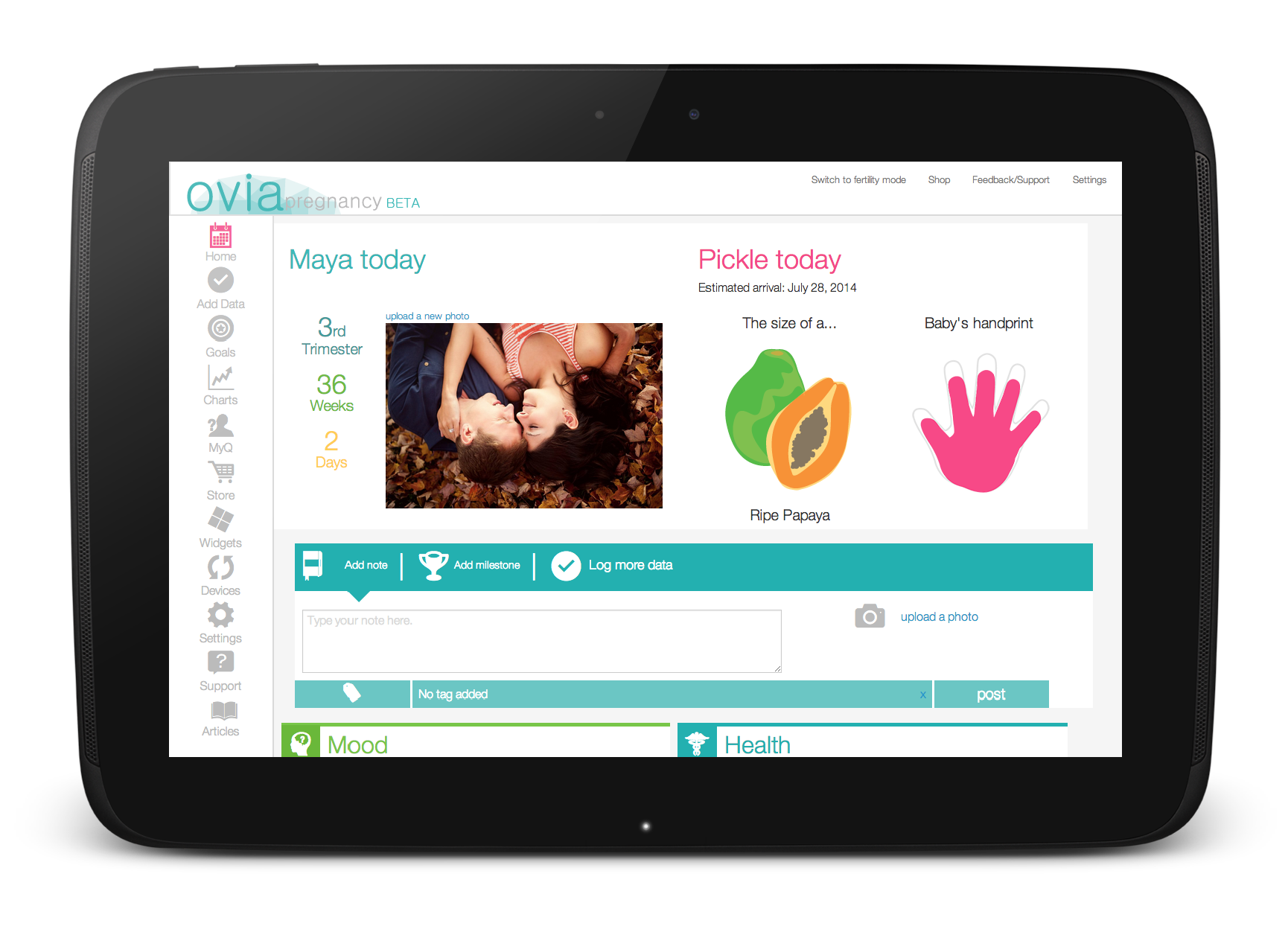 Ovia Pregnancy on a Nexus 10 Android device